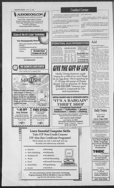 Summer Trojan, Vol. 128, No. 9, July 10, 1996