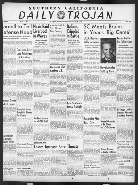 Daily Trojan, Vol. 32, No. 52, November 29, 1940
