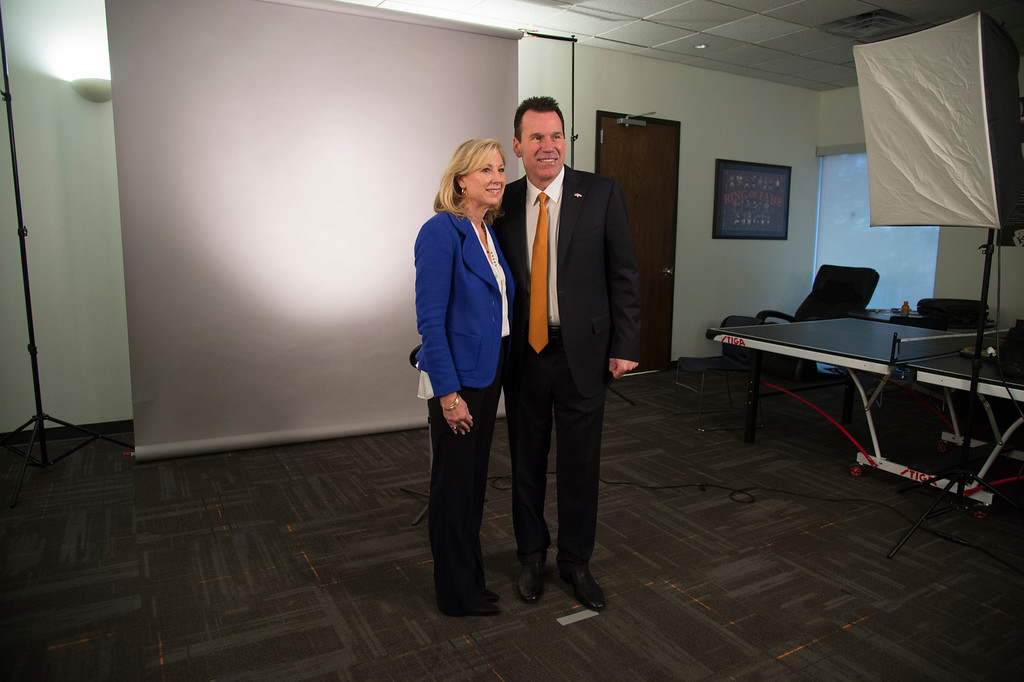 . Denver Broncos head coach Gary Kubiak with his wife Rhonda during a photo shot after his press conference January 20, 2015 at Dove Valley. Kubiak becomes the 15th head coach in franchise history. (Photo By John Leyba/The Denver Post)