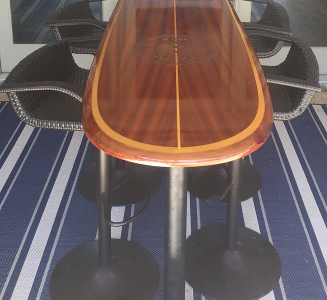 """8'3"""" Santa Cruz bar table top with laser etched family logo"""