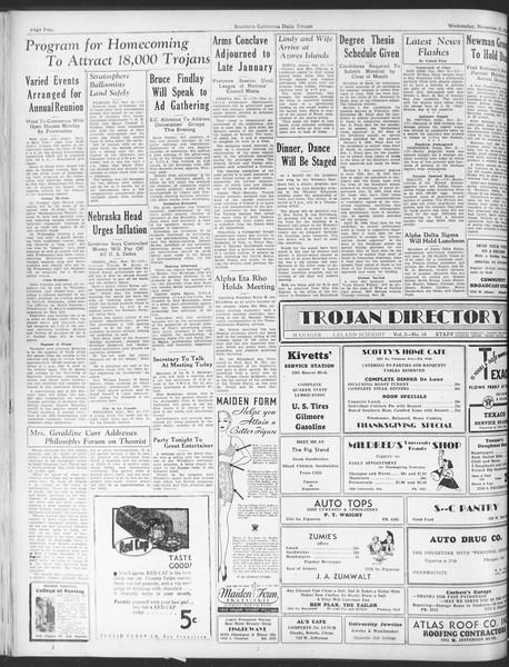 Daily Trojan, Vol. 25, No. 43, November 22, 1933