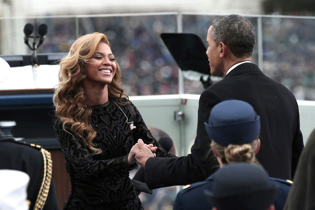 . President Barack Obama greets singer Beyonce on the West Front of the Capitol in Washington, Monday, Jan. 21, 2013, after she sang the National Anthem during the president\'s ceremonial swearing-in ceremony during the 57th Presidential Inauguration.  (AP Photo/Win McNamee, Pool)