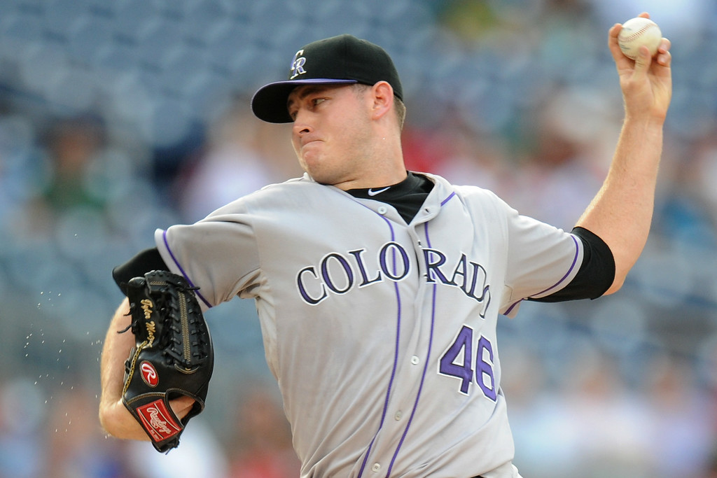 . Tyler Matzek #46 of the Colorado Rockies pitches in the first inning during a baseball against the Washington Nationals on July 2, 2014 at Nationals Park in Washington, DC. (Photo by Mitchell Layton/Getty Images)