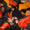 Expedition staff 'sorting' the sleeping bags!
