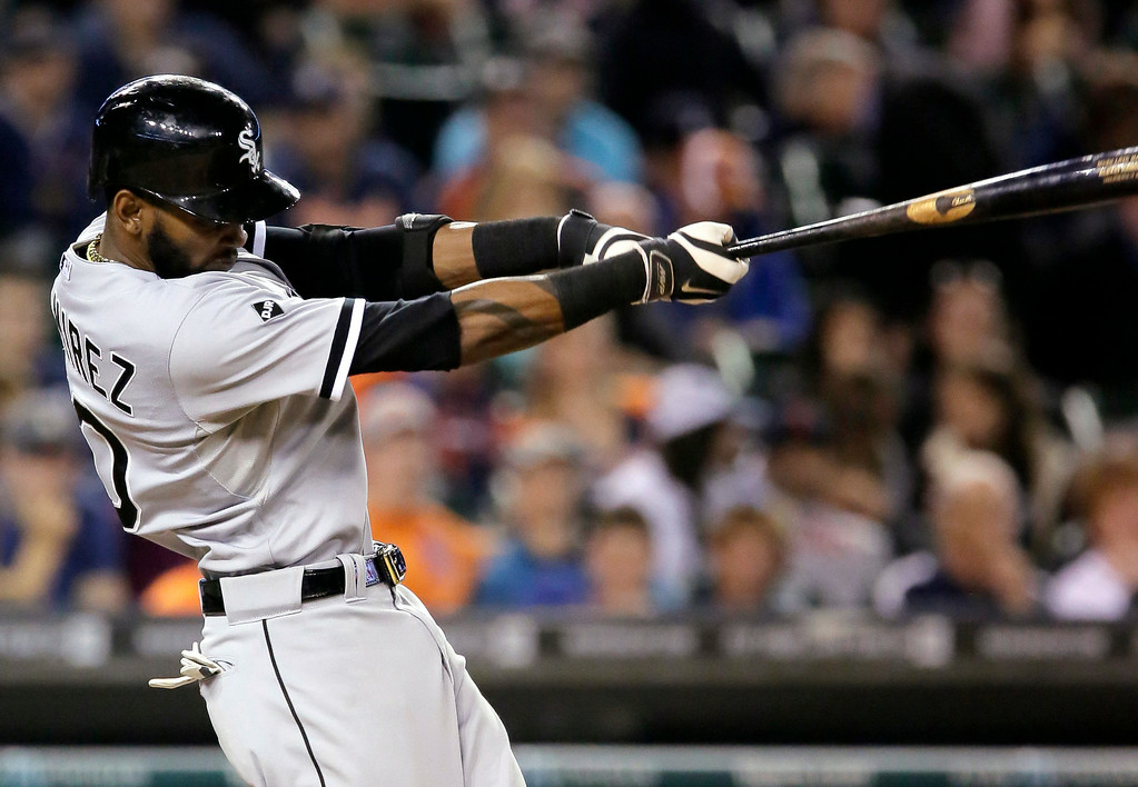. Chicago White Sox\'s Alexei Ramirez grounds into a force out at second base during the eighth inning of a baseball game against the Detroit Tigers Tuesday, July 29, 2014, in Detroit. (AP Photo/Duane Burleson)