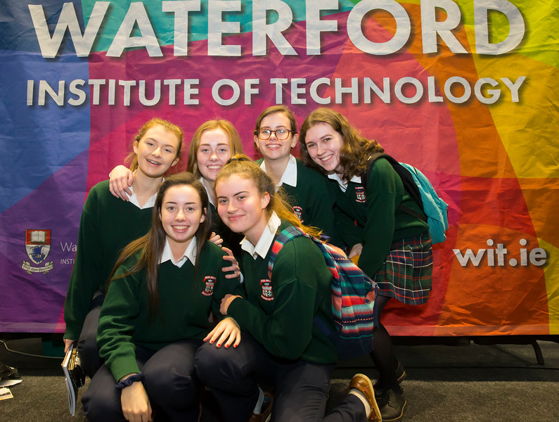 FREE TO USE IMAGE. Pictured at WIT's Autumn Open Days in the WIT Arena are Lauren Sinnott, Shauna Mullowney, Angela McGuigan, Sarah Jayne Brophy, Kate Danagher, Caoimhe O'Connell from Scoil Mhuire Green Hill Carrick on Suir. Picture: Patrick Browne  WIT's Autumn Open Days in the WIT Arena were on Friday, 23 November and Saturday, 24 November 2018. The Schools Open Day on Friday attracted thousands of secondary school students.  The event focused on undergraduate entry for September 2019 but also showcases the opportunities for postgraduate learning and research and flexible study through our School of Lifelong Learning & Education.  The institute has 70 CAO courses across a range of discipines including,business,engineering and architecture, sports and nursing, law, social sciences, arts and psychology, the creative & performing arts, languages, tourism and hospitality, science and computing.   WIT's Autumn Open Days included presentations on all CAO courses, including new courses for 2019, as well as the opportunity to experience what it would be like to study on those courses and talk to lecturers directly.