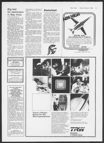 Daily Trojan, Vol. 98, No. 21, February 08, 1985
