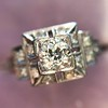 0.58ctw Old European Cut Diamond Art Deco Illusion Ring 11