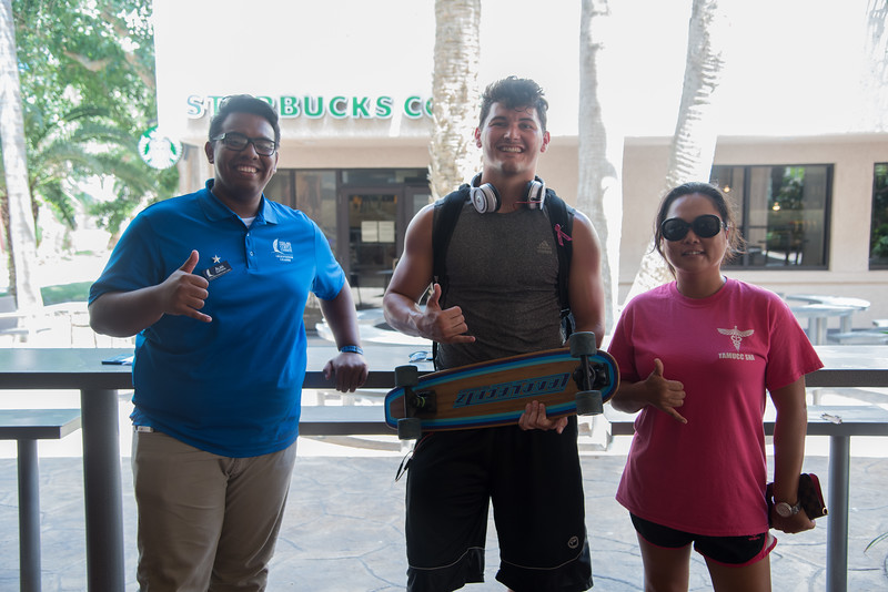 TAMUCC students Alan Contreras(left) Cody Lang(middle) and Jerrila Arispe(right) enjoy Shakas and Starbuck.