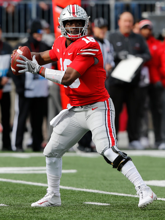 . Ohio State quarterback J.T. Barrett drops back to pass against Michigan State during the first half of an NCAA college football game Saturday, Nov. 11, 2017, in Columbus, Ohio. (AP Photo/Jay LaPrete)