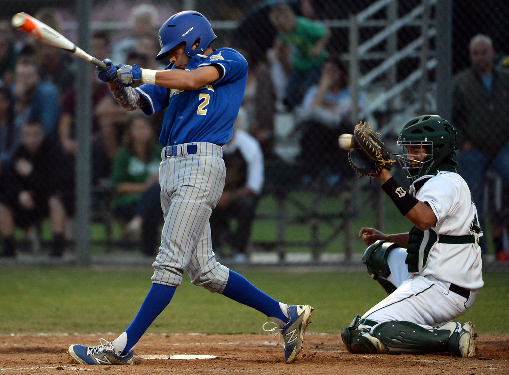 . San Dimas\' Josh Avila (C) (2) strikes out with the bases loaded in the third inning of a prep baseball game against Bonita at Bonita High School in La Verne, Calif., on Wednesday, March 19, 2014.  (Keith Birmingham Pasadena Star-News)
