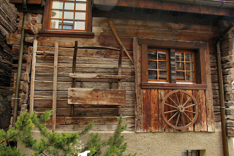 An historic farmhouse in the heart of Zermatt-hundreds of years old and still in use.