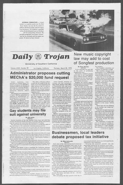 Daily Trojan, Vol. 73, No. 29, March 30, 1978