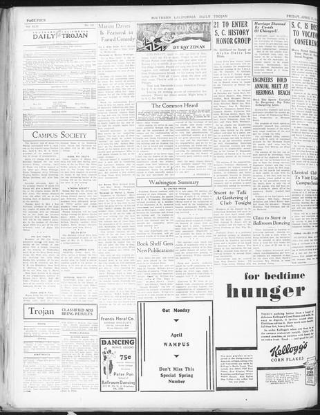 Daily Trojan, Vol. 22, No. 125, April 17, 1931