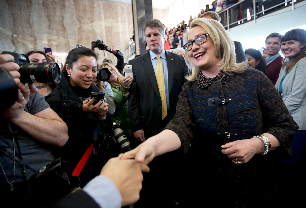 . Secretary of State Hillary Rodham Clinton bids farewell to State Department employees at the State Department in Washington, Friday, Feb. 1, 2103, before departing the State Department for the final time as secretary of state.   (AP Photo/Manuel Balce Ceneta)
