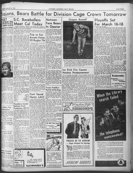 Daily Trojan, Vol. 30, No. 95, March 10, 1939