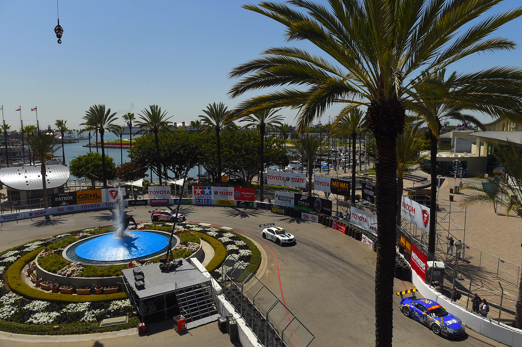 . Drivers in the Pirelli World Championship make the turn around the aquarium fountain at turns 2 and 3 during practice in Long Beach, CA on Friday, April 17, 2015. The 40th annual Toyota Grand Prix of Long Beach kicked off with practices for all of the racing divisions. (Photo by Scott Varley, Daily Breeze)