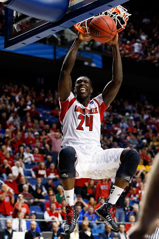 . LEXINGTON, KY - MARCH 21:  Montrezl Harrell #24 of the Louisville Cardinals dunks against the North Carolina A&T Aggies during the second round of the 2013 NCAA Men\'s Basketball Tournament at the Rupp Arena on March 21, 2013 in Lexington, Kentucky.  (Photo by Kevin C. Cox/Getty Images)