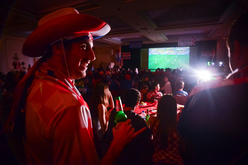 . Josip Sep of Long Beach joined other Croatian fans to watch the world cup soccer match between Brazil and Croatia.  Croatian fans gathered at St. Anthony Croatian Catholic Church in Los Angeles for the match which was the first one of the world cup.   ( Photo by David Crane/Los Angeles Daily News )