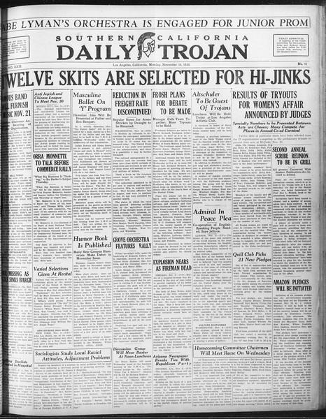 Daily Trojan, Vol. 22, No. 42, November 10, 1930