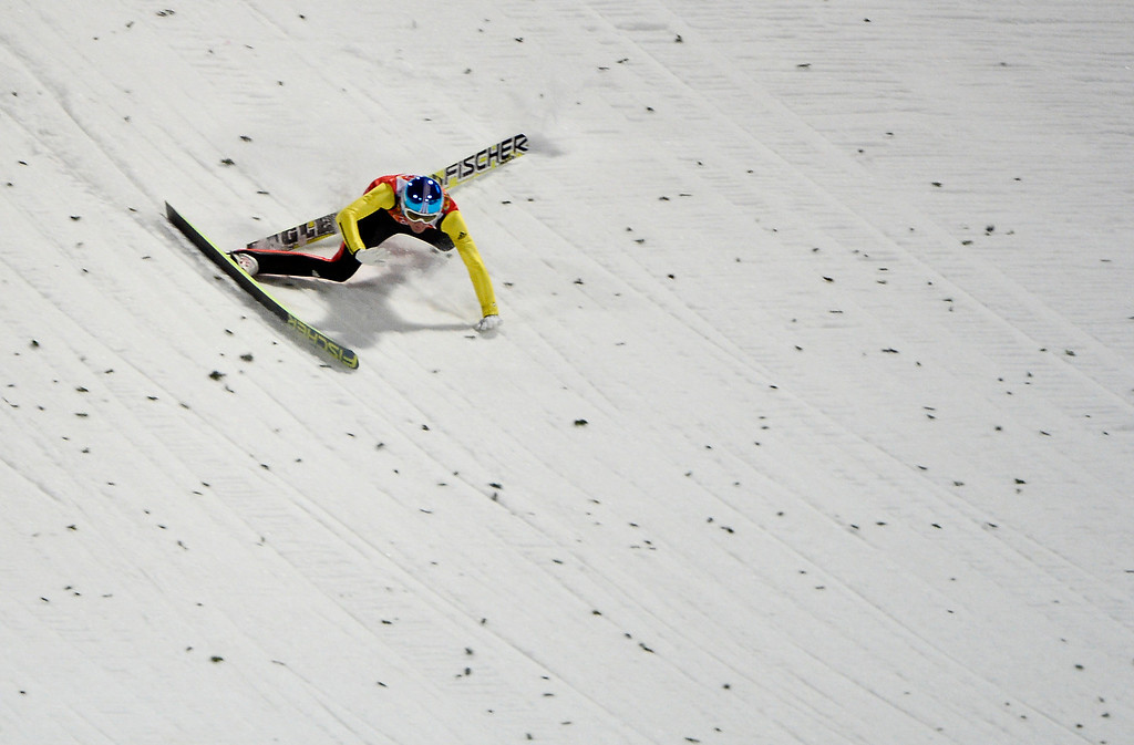 . Germany\'s Severin Freund falls as he competes in the Men\'s Ski Jumping Normal Hill Individual Final Round trial at the RusSki Gorki Jumping Center during the Sochi Winter Olympics on February 9, 2014 in Rosa Khutor.  PIERRE-PHILIPPE MARCOU/AFP/Getty Images