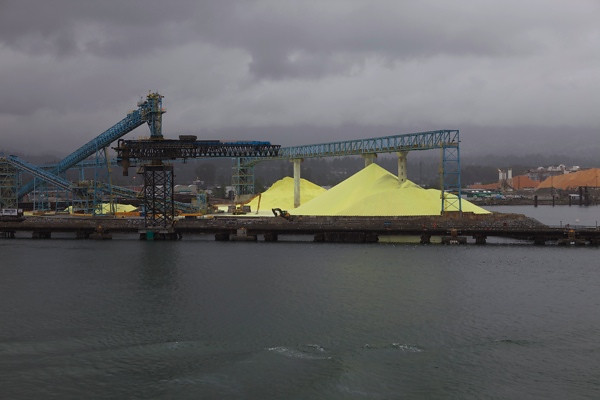 A large pile of salt leaving Vancouver