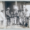 Title: The Interview. Standing Elk, No. 1; Running Hog, No. 2; Little Wolf, No. 3; Col. Oelrich, No. 4; Interpreter, No. 5<br /> Three Cheyenne men wearing ceremonial clothing and holding rifles, greeting a Euro-American man in a suit and his interpreter in front of a building. [between 1887 and 1892]<br /> Repository: Library of Congress Prints and Photographs Division Washington, D.C. 20540