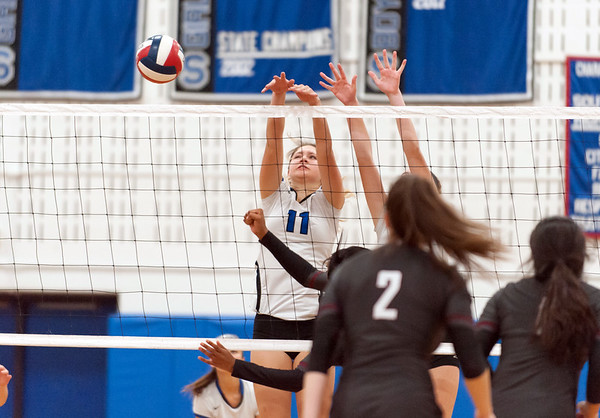 10/30/18 Wesley Bunnell | Staff Southington girls volleyball was defeated 15-10 in the 5th set by Farmington in a 2nd round CCC Tournament game on Tuesday night at Southington High School. Veronica Gorski (11).