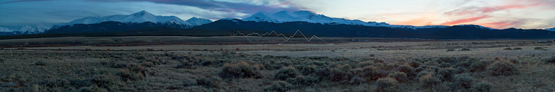 The Sawatch Range outside of Leadville, CO at Sunset