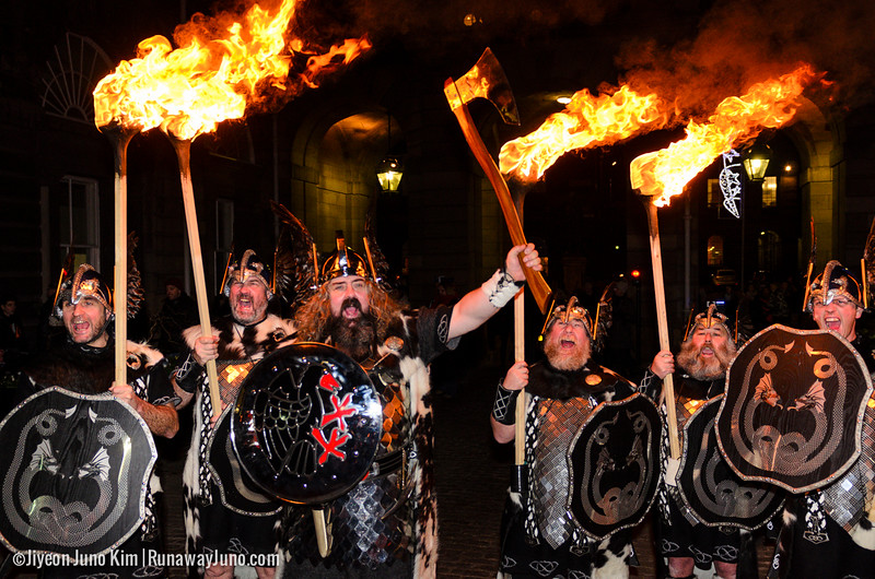 Up Helly Aa' Vikings at Edinburgh's Hogmanay Torchlight Procession 2014/15