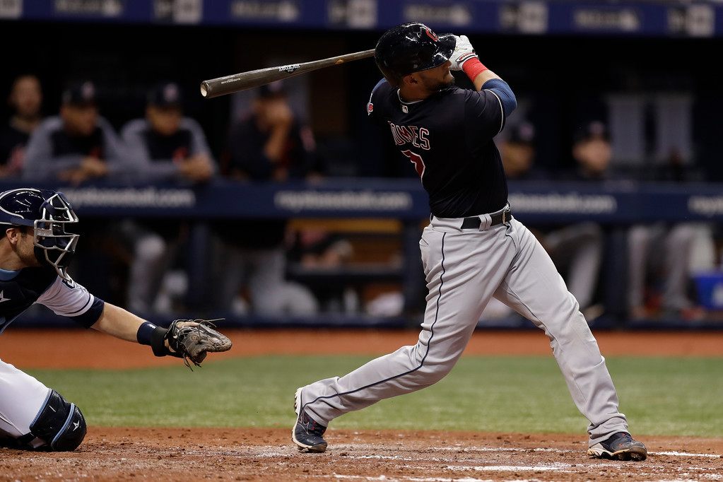 . Cleveland Indians\' Yan Gomes watches his home run off Tampa Bay Rays pitcher Tyler Glasnow during the fifth inning of a baseball game Tuesday, Sept. 11, 2018, in St. Petersburg, Fla. (AP Photo/Chris O\'Meara)