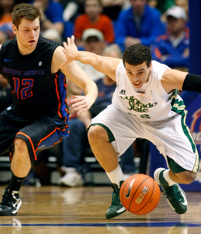 . Colorado State guard Dorian Green chases a loose ball with Boise State guard Igor Hadziomerovic (12) during an NCAA college basketball game in Boise, Idaho, Saturday, March 2, 2013.  (AP Photo/Darin Oswald)