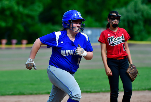 5/31/2019 Mike Orazzi | Staff Bristol Eastern's Riley Giblin (12) after a solo home run in the Class L Quarterfinals softball game on Friday.