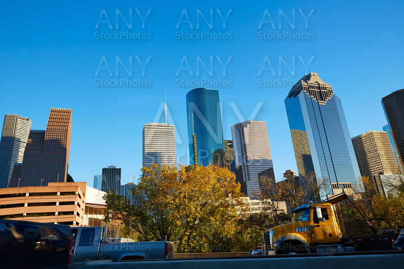 Houston downtown skyline of Texas city in US