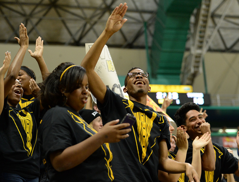 . Long Beach students erupt in cheer after an alley-oop play against Fullerton in a Big West mens basketball game at the Pyramid Saturday, February 01, 2014, Long Beach CA.   Long Beach won 75-56. CSU Long Beach versus CSU Fullerton Photo by Steve McCrank/Daily Breeze