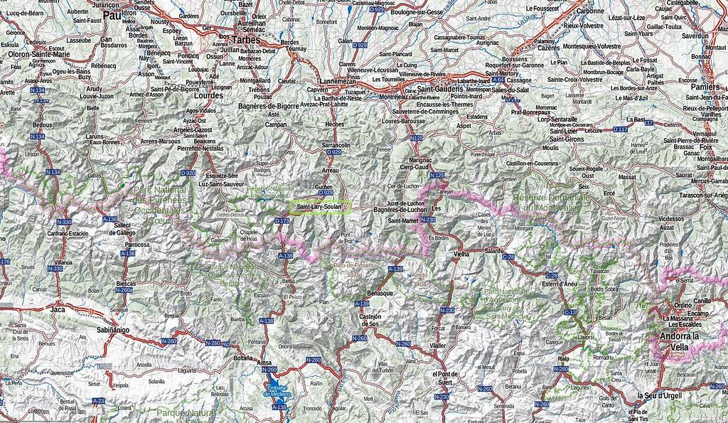 Mapa de carreteras: señalada la localización de Saint-Lary
