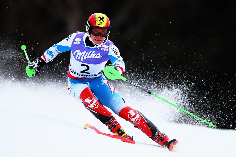 . Marcel Hirscher of Austria skis on his way to winning the Men\'s Slalom during the Alpine FIS Ski World Championships on February 17, 2013 in Schladming, Austria.  (Photo by Clive Mason/Getty Images)