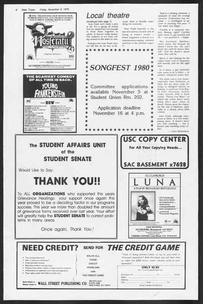Daily Trojan, Vol. 87, No. 39, November 09, 1979
