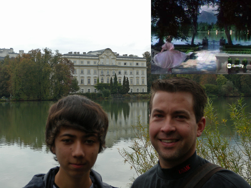 Leopold's Crown Palace. It's hard to see, but we are on the opposite side of the lake of the 'backyard' of the Von Trapp's house.