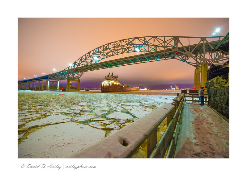 CSL Niagara passing under I-525 bridge, from Old Interstate Bridge, Duluth, MN