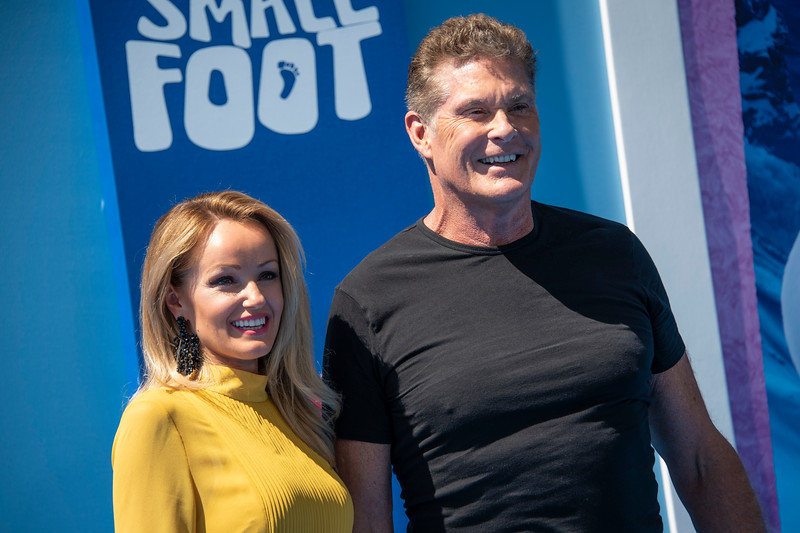 WESTWOOD, CA - SEPTEMBER 22: David Hasselhoff and wife Hayley Roberts arrive at the Premiere Of Warner Bros. Pictures' 'Smallfoot' at Regency Village Theatre on Saturday, September 22, 2018 in Westwood, California. (Photo by Tom Sorensen/Moovieboy Pictures)