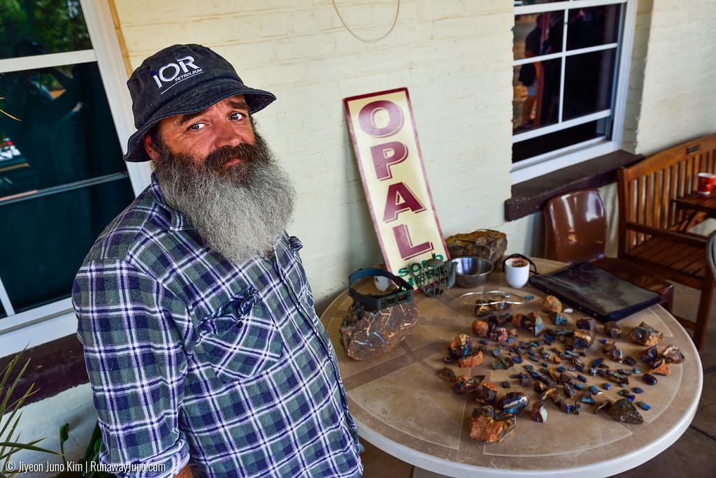 "Outback characters - an opal miner ""Giggles"" in Eromanga, Australia."