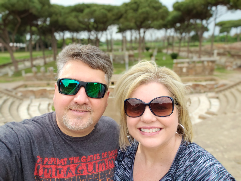 Working off jet lag at the Teatro in Ostia Antica