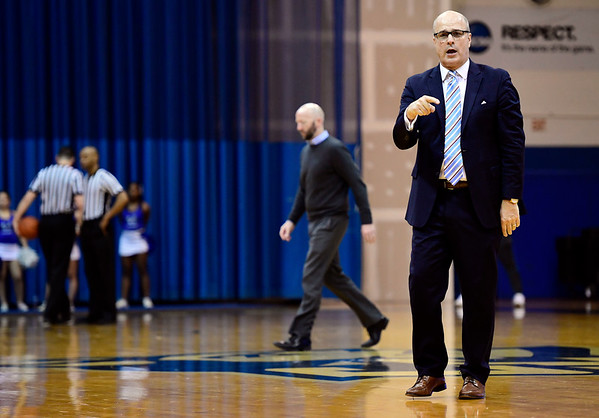 3/2/2019 Mike Orazzi | Staff Fairleigh Dickinson Head Coach Greg Herenda during Saturday's Mens basketball game with CCSU in New Britain.