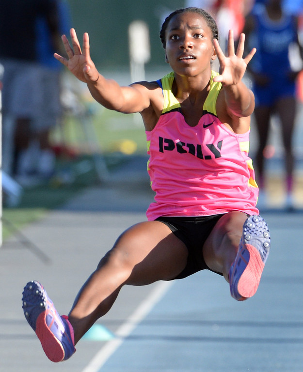 . Pasadena Poly\'s Onyx Gaston competes in the Triple Jump during the CIF-SS Masters Track and Field meet at Falcon Field on the campus of Cerritos College in Norwalk, Calif., on Friday, May 30, 2014.   (Keith Birmingham/Pasadena Star-News)