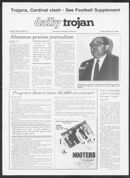 Daily Trojan, Vol. 100, No. 34, October 18, 1985