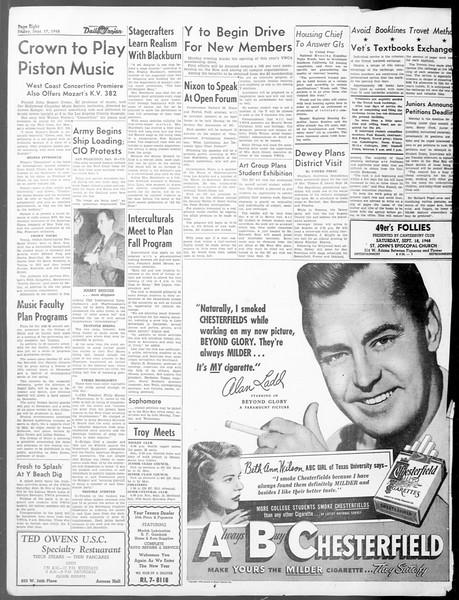 Daily Trojan, Vol. 40, No. 5, September 17, 1948