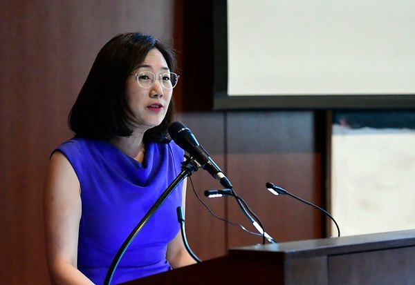 3/5/2020 Mike Orazzi | Staff New Britain Museum of American Art Director Min Jung Kim during the Stanley Black & Decker International Women's Day Celebration in New Britain on Thursday afternoon.