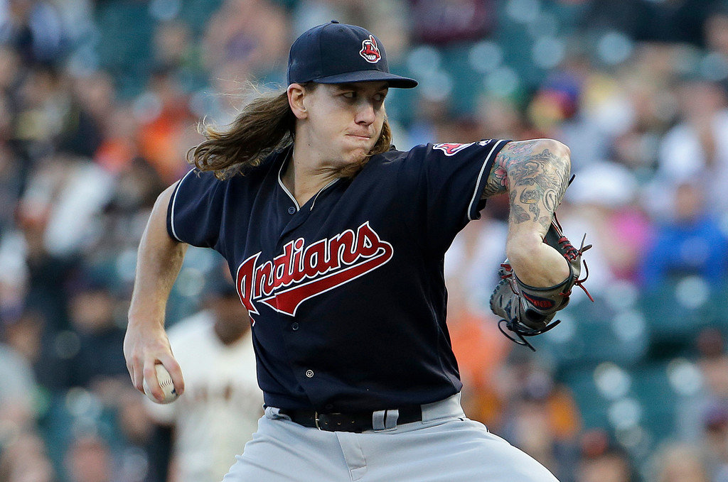 . Cleveland Indians pitcher Mike Clevinger throws against the San Francisco Giants during the first inning of a baseball game in San Francisco, Tuesday, July 18, 2017. (AP Photo/Jeff Chiu)