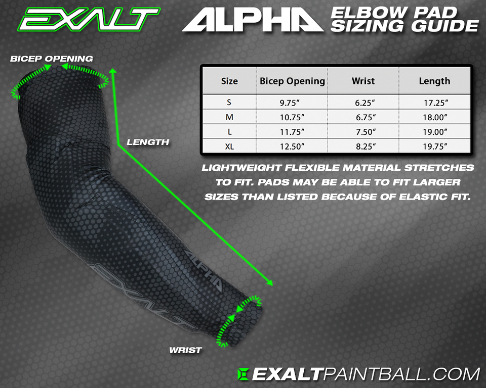 Exalt Alpha Arm Pad Size Guide